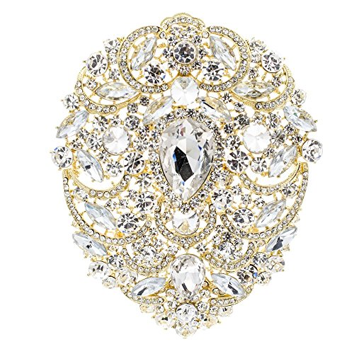 (SEPBRIDALS SEP 4.9IN Rhinestone Crystals Large Egg Shape Brooch Broach Pins Women Jewelry Accessories 4045 (Gold))