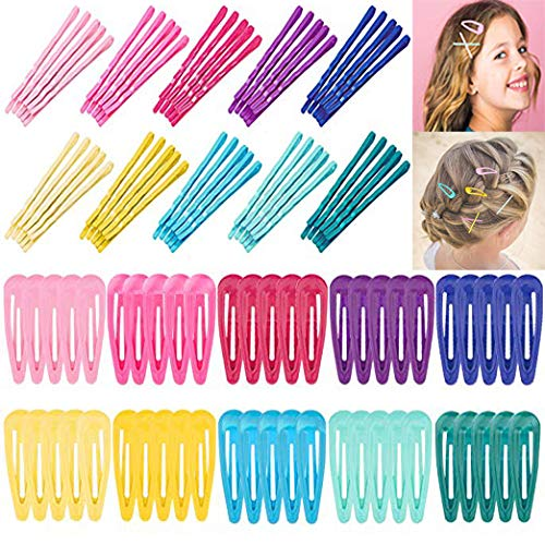 Pin Snap - Whaline 100pcs Colorful Snap Hair Clips and Hair Bobby Pins, Hair Pins Non-Slip Metal Hair Barrettes for Kids Girls Women Hair Accessories (10 Colors, 2 Inch)