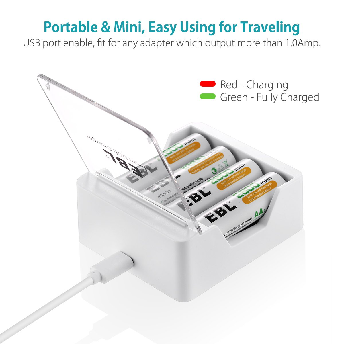 Battery Via The Mini Usb Port On Charging Circuit Or Solar Ebl Aa Aaa Smart 4 Bay Rechargeable Charger For Ni Mh Cd Batteries With Micro Cable Home Audio Theater