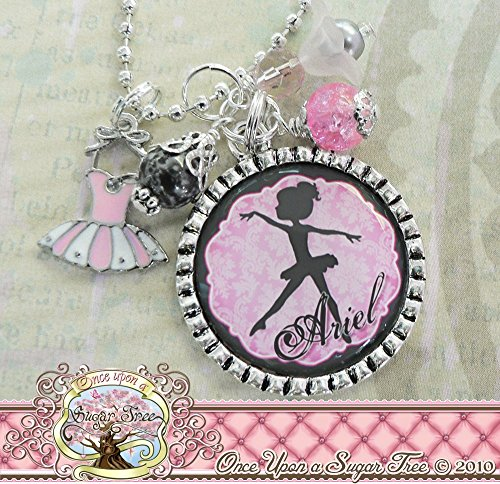 Ballet Jewelry for Girls, Personalized Ballerina Necklace, Pink White Tutu charm, Silhouette Dancer