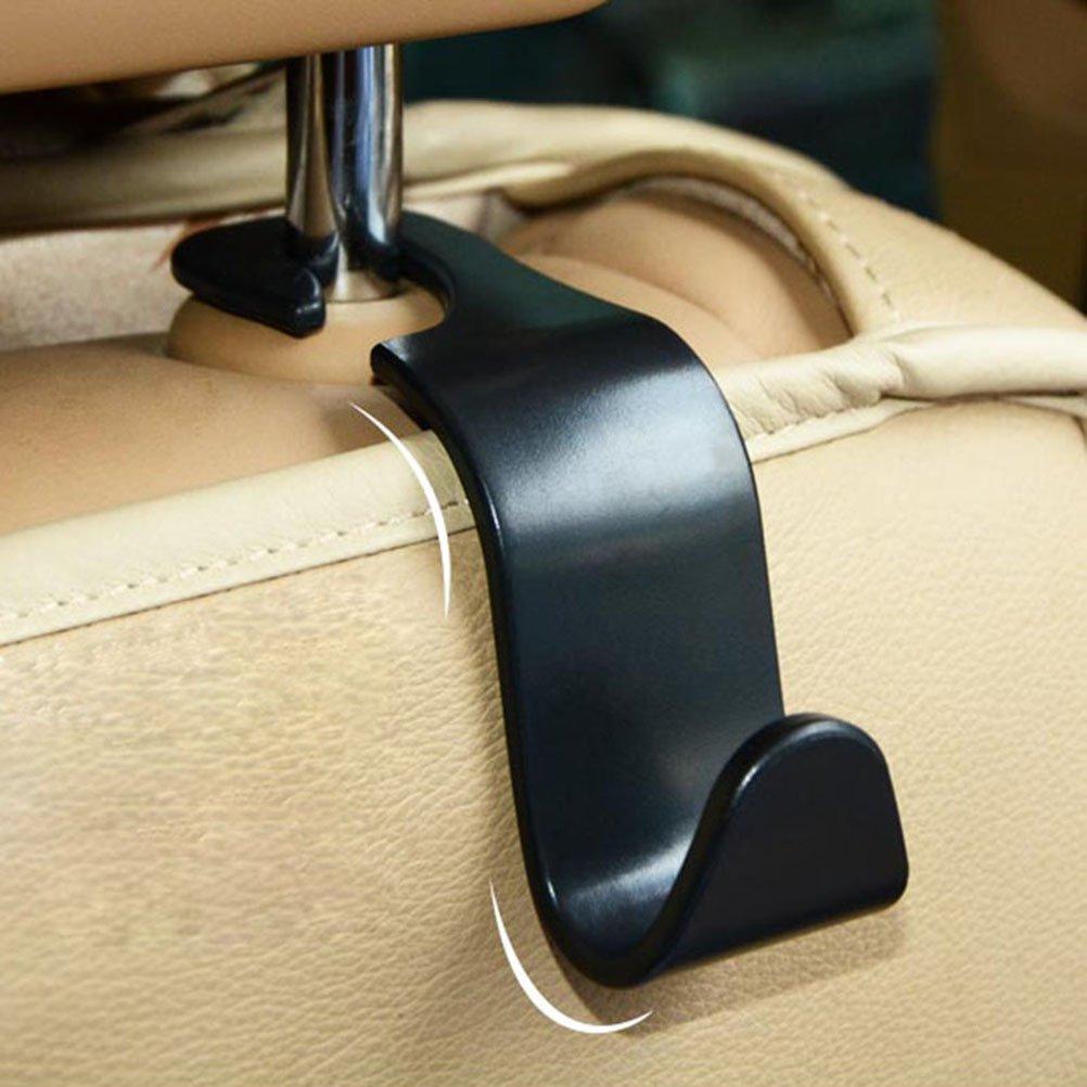 WINOMO 4pcs Auto Rücksitz Kopfstütze Veranstalter Aufhänger Lagerung Haken für Lebensmittel Tasche Handtasche (schwarz) DP225914LYGB75252