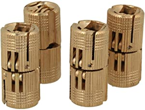 4PCS Barrel Hinges Hidden Furniture Hinge Brass Concealed Hinges for DIY Jewelry Box Furniture Hand Craft Golden 14mm 180°Opening Angle
