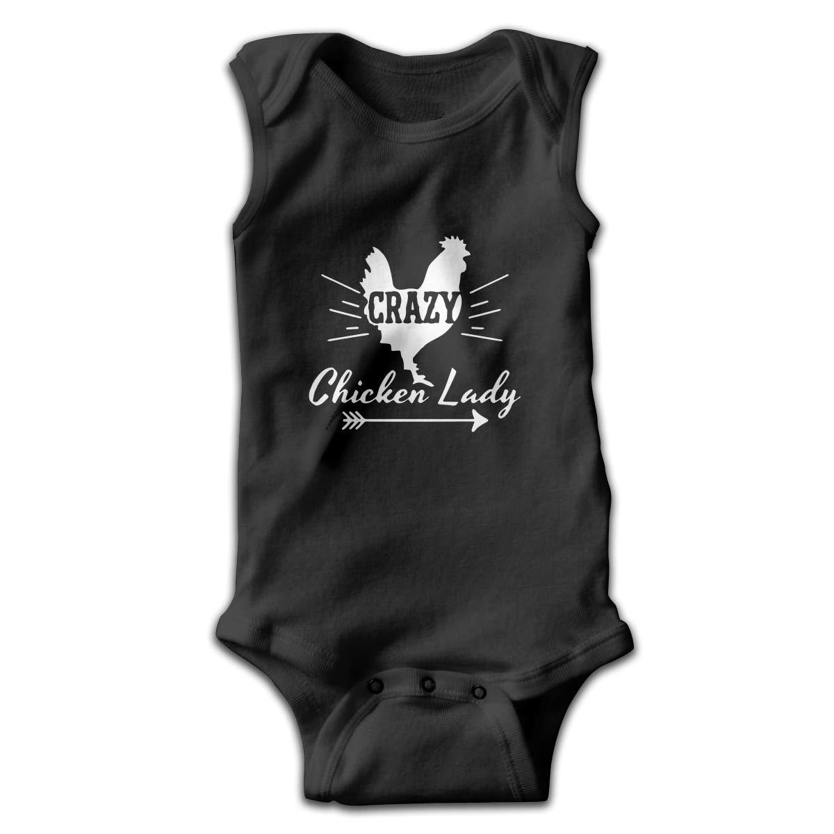 Dunpaiaa Crazy Chicken Lady Logo Smalls Baby Onesie,Infant Bodysuit Black