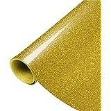 PAMISO 10 x 39 Inch Glitter Heat Transfer Vinyl - Gold HTV - DIY T-Shirt Vinyl, (Gold)