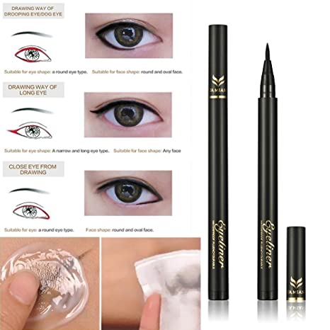 Amazon.com : ZHUOTOP Beauty - Bolígrafo líquido para maquillaje, 2 colores, color negro, marrón, grueso, de secado rápido, resistente al aceite, ...