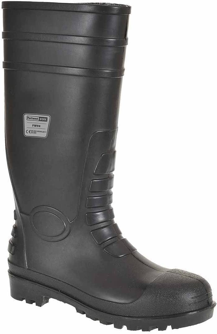 TALLA 46. Portwest FW94 - Seguridad Wellington 46/11, color Negro, talla 46