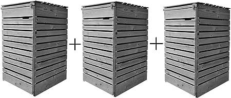 Mülltonnenbox Mülltonnenverkleidung Holz 120L Rückwand vormontiert 240L  inkl