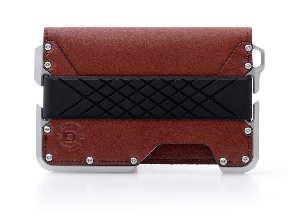 Dango D01 Dapper Bifold Wallet - Made in USA - Genuine Leather, CNC Alum, RFID Blocking (Whiskey Brown/Satin Silver) by Dango Products