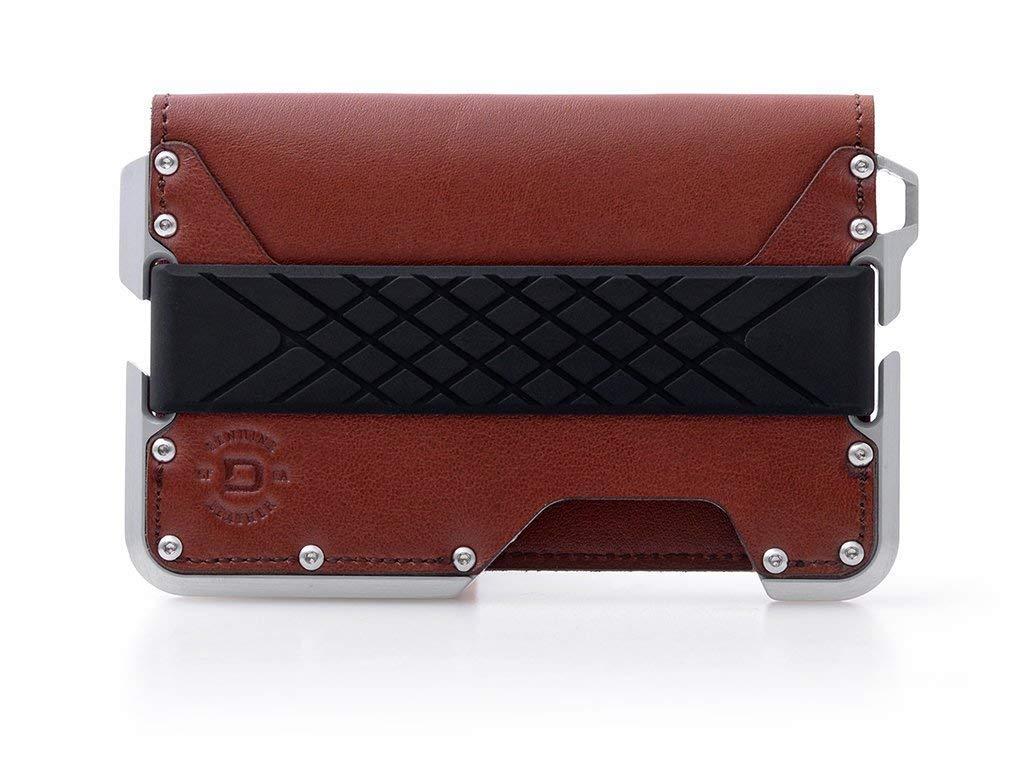Dango D01 Dapper Bifold Wallet - Made in USA - Genuine Leather, CNC Alum, RFID Blocking (Whiskey Brown/Satin Silver)