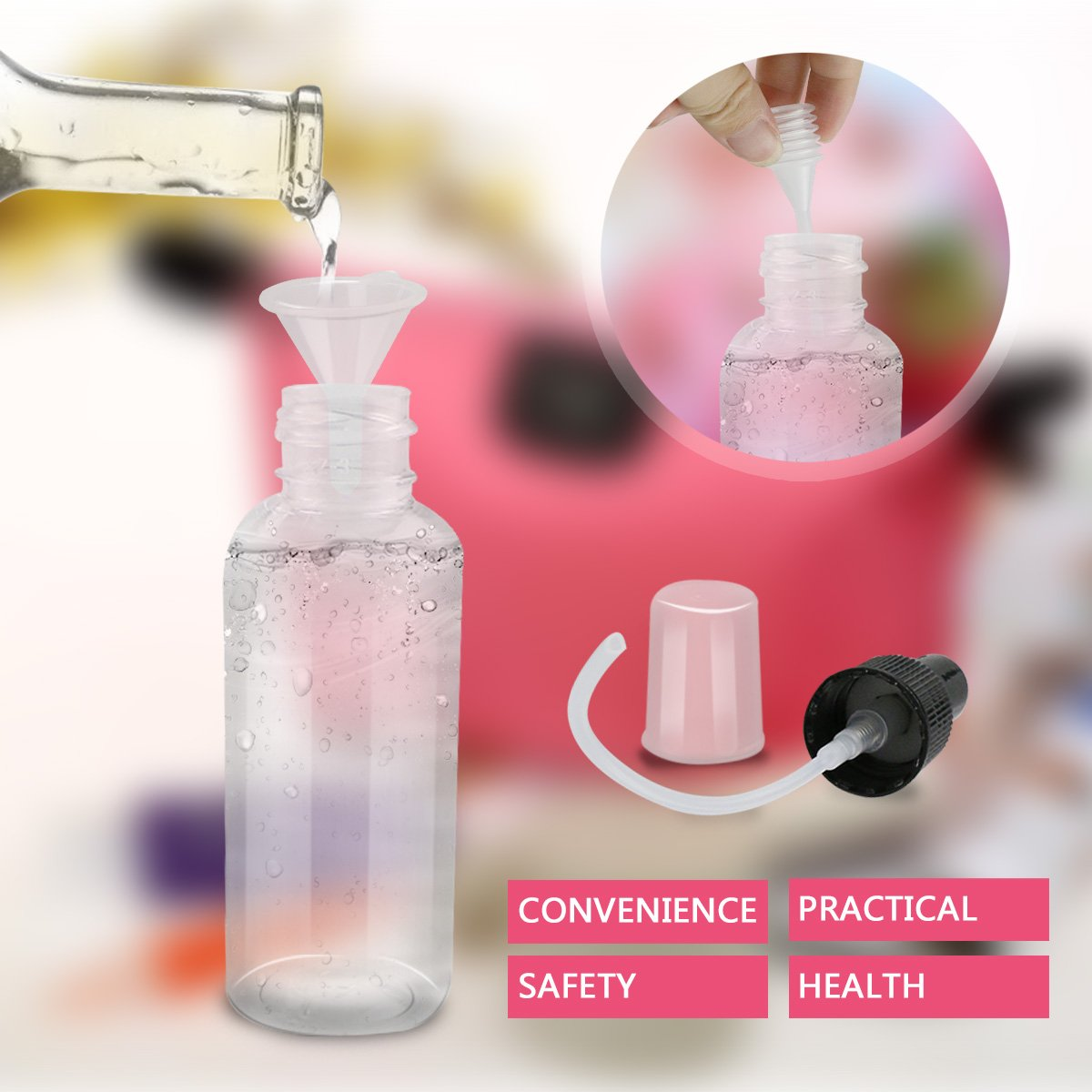 Botella de Pulverizacion Frascos de Spray Botes Transparentes con Pulverizador 6 * 50ml Plástico, Vacíos, para Perfume Chanmpú Viaje: Amazon.es: Belleza