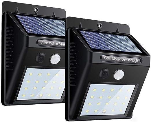 Lampes solaires, lampe murale à détecteur de mouvement à 20 LEDs, auto marchearrêt, lumière solaire étanche pour jardin, piscine, etc. (paquet de 2)
