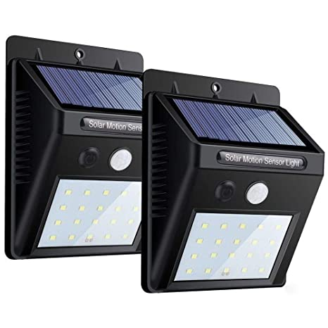 Luces solares, luz de pared con sensor de movimiento de 20 LED, encendido/