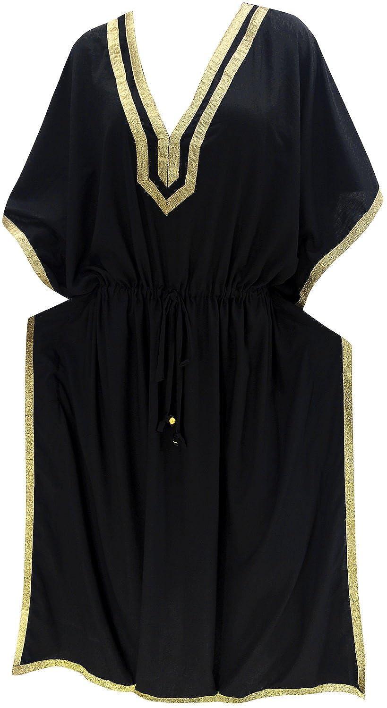 LA LEELA Donne Rayon Kaftan Tunica Solido Plain Kimono Libero Formato Lungo Maxi Partito Caftano Vestito per Loungewear Vacanze Pigiama Spiaggia di Tutti i Giorni Coprire i Vestiti T