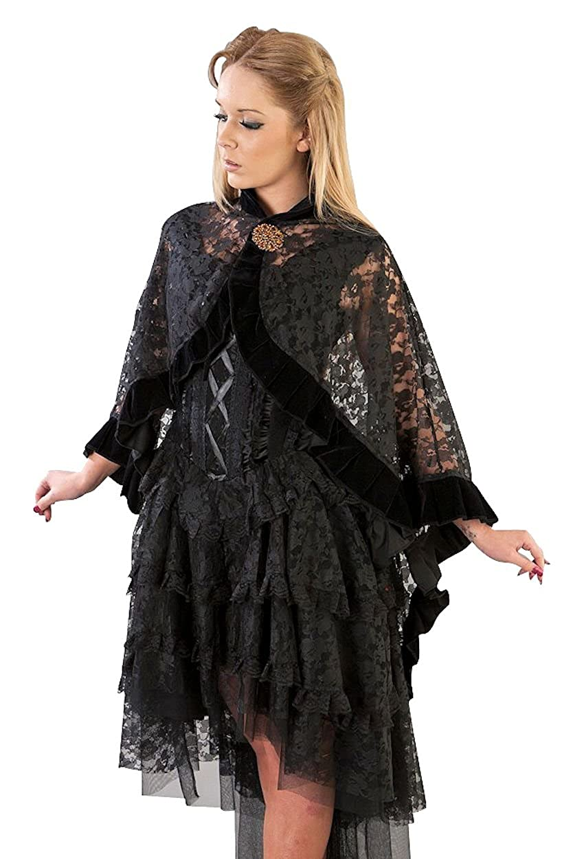 1920s Coats, Furs, Jackets and Capes History Burleska Womens Catherine Black Lace Cape Wrap With Velvet Trim $68.99 AT vintagedancer.com