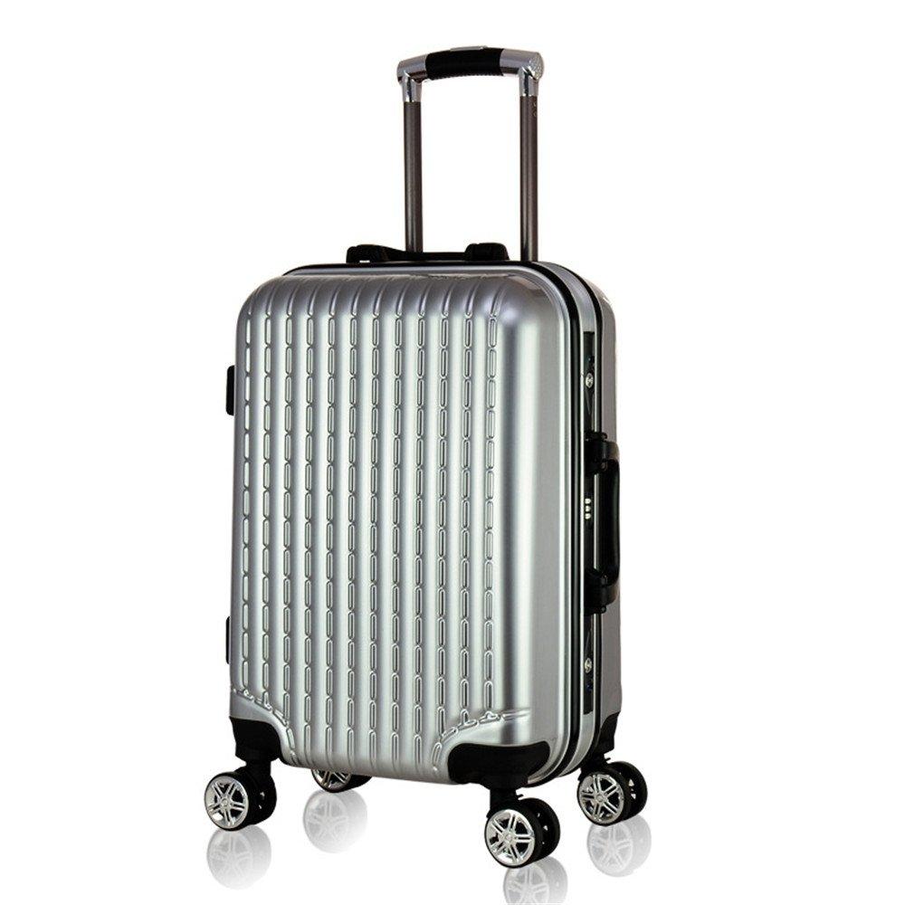 YHDD アルミ合金のユニバーサルホイールプルボックス、手押し荷物カート、軽量、大容量、防水、軽い、落ちにくい、ビジネス、旅行、旅行荷物に適して20/24/28 (サイズ さいず : シルバー しるば゜) シルバー しるば゜  B07QHVCTN4