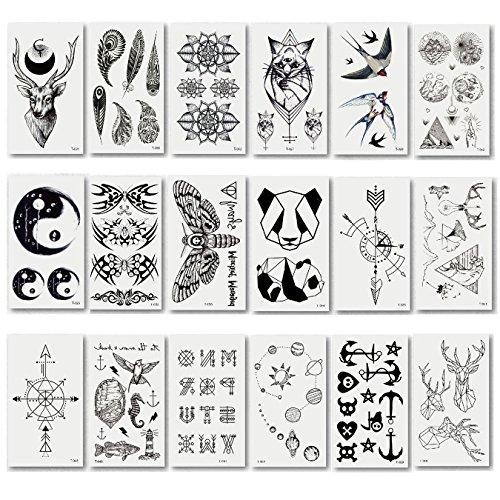 20pcs Different Pattern Fashion Temporary Tattoo Transfer Stickers for Men & Women & Boys & Girls, Long Time Lasting Body Sticker