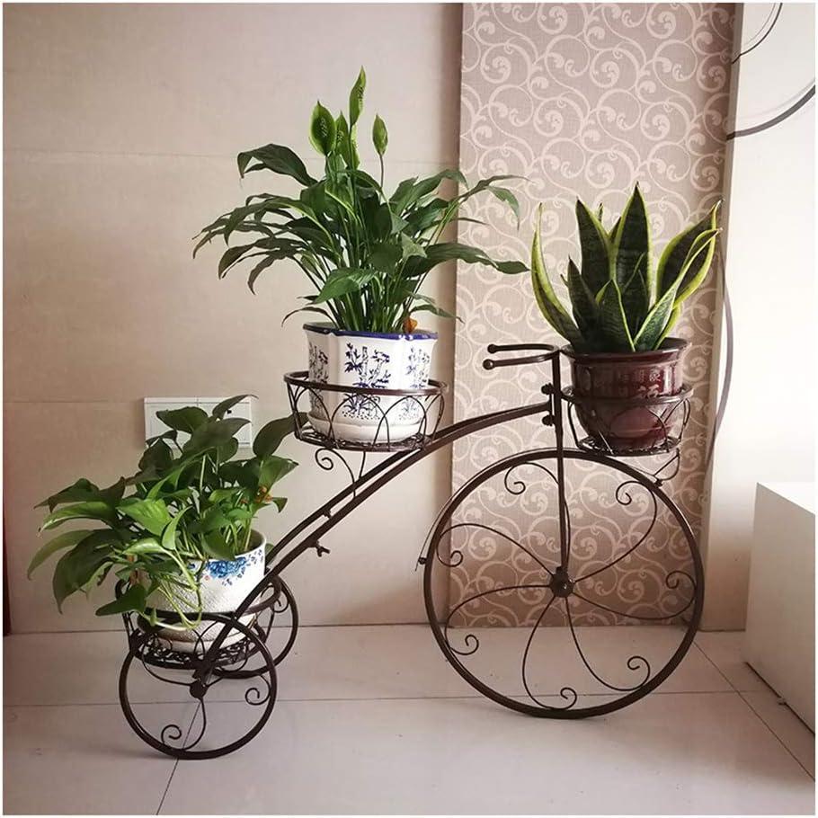 ZTMN Tricycle Planter Shabby Chic Metal Plant Stand, Baskets Bicycle Garden Bike Flower Pot Gift,Garden Flower Decoration Indoor Outdoor Display Stand Black