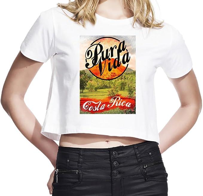 Pura Vida Costa Rica Camiseta Corta Mujeres Large
