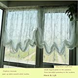 HOLY HOME White Lace Voile Embroidery Sheer Pastoral Romantic Pull-up Jabots Cascade Curtain with Drawstring for Living Room & Bedroom Home Décor 78''Wx59''Hx1pc