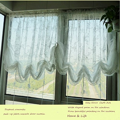 (HOLY HOME White Lace Voile Embroidery Sheer Pastoral Romantic Pull-up Jabots Cascade Curtain with Drawstring for Living Room & Bedroom Home Décor 78''Wx59''Hx1pc)