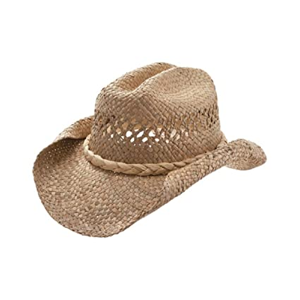 MG Women s Straw Woven Cowboy Hat (Natural)  Amazon.ca  Sports   Outdoors 60774173ea75