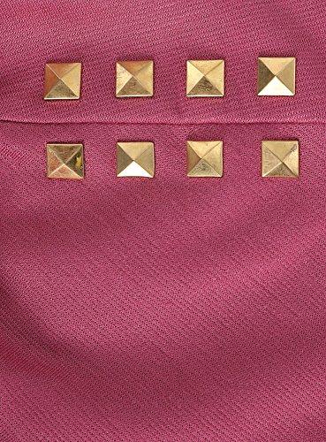 oodji Ultra Mujer Vestido con Decoración Metálica en los Hombros Rosa (4A00N)