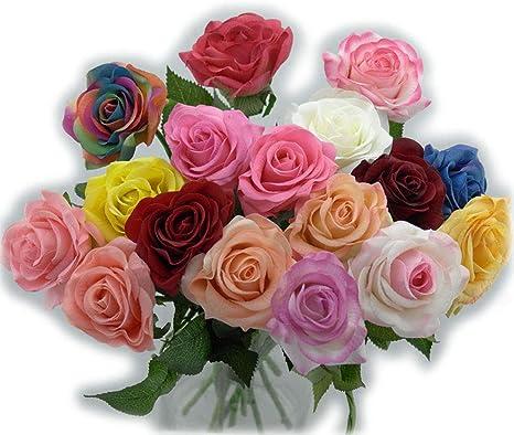 BAIVIN Coloridas Rosas Artificiales Hidratantes Sentido a Mano Flor Falsa Decorativa Ramo de Flores Jardín Interior