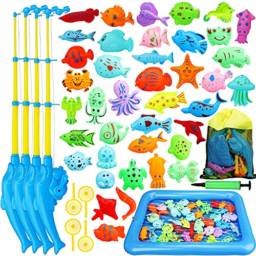 TOY Life Magnetic Fishing Game for Toddlers with 4 Toy Pole, Toy...