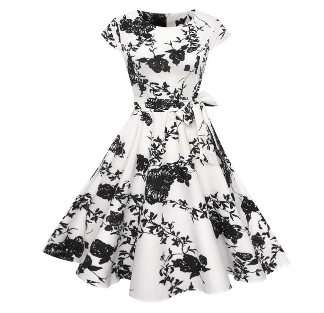 OneMee Women's Elegant Retro Dress With Sleeveless Holiday Casual Dress