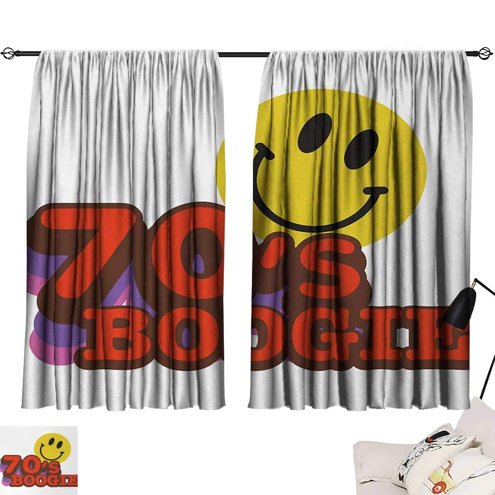 Jinguizi 70s Party Curtain for Bathroom Seventies Boogie Funny Smiling Emoticon Humorous Amusing Vibrant Print Household Darkening Curtains Yellow Red Purple W55 x L39