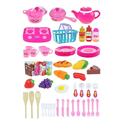 Binghotfire 54Pcs Simular Juego de Juguete para rebanar la Cocina Kids Fruit Vegetable Cooking Toy: Hogar