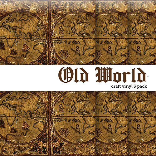 "Old World Map Vintage Printed Craft Vinyl 12"" x 12"" - 3 Sheets from Party Explosions®"