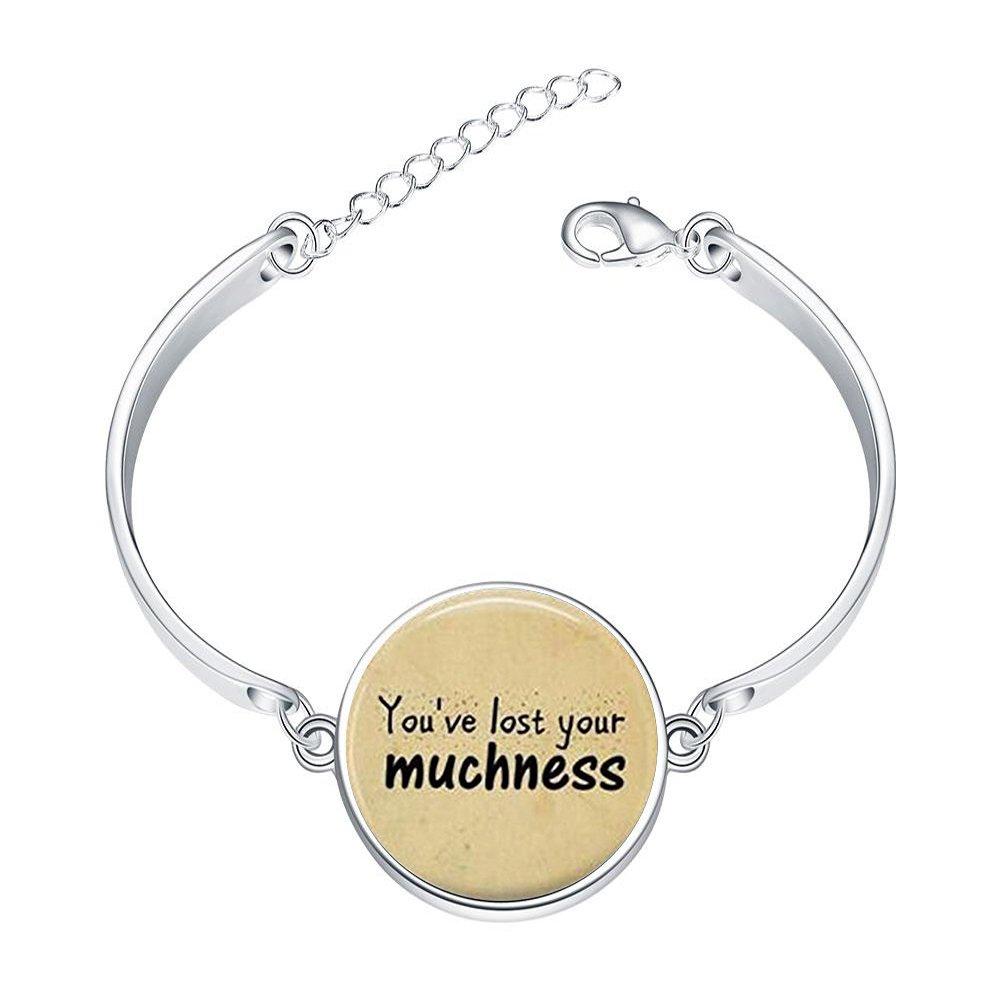 LAROK WAZZIT Silver Bangle Bracelet Shakespeare English Sentence Though She Be But Little She is Fierce Adjustable Bracelets with Round Charm Glass Pendant Love Gift