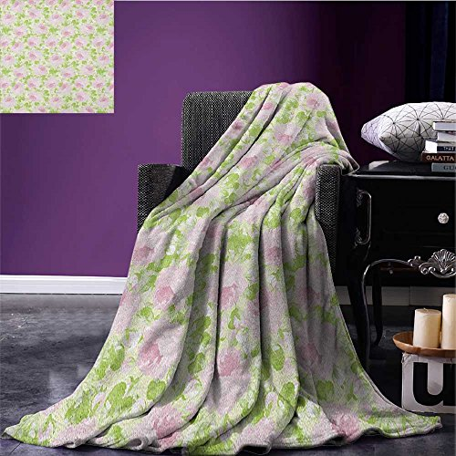 Shabby Chic summer blanket Classical Spring Yard Florescence Pastel Colored Flourish Pattern Flannel Pale Pink Pale Green size:50