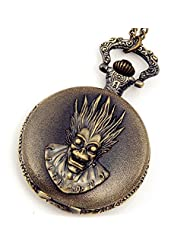 Lancardo Pocket Watch Steampunk Pirates Skull Motif Full Hunter Bronze Case Chain with Gift Bag