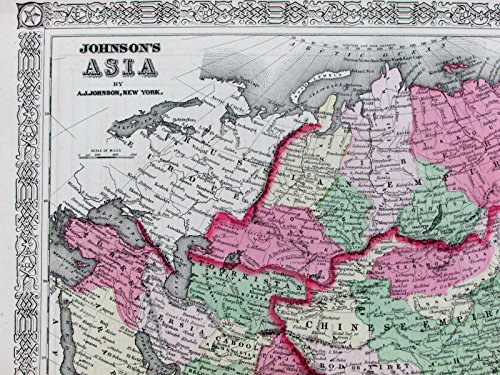 - Chinese Russian Empires Bod Tibet Persia Anam Siam China Asia 1867 Johnson map