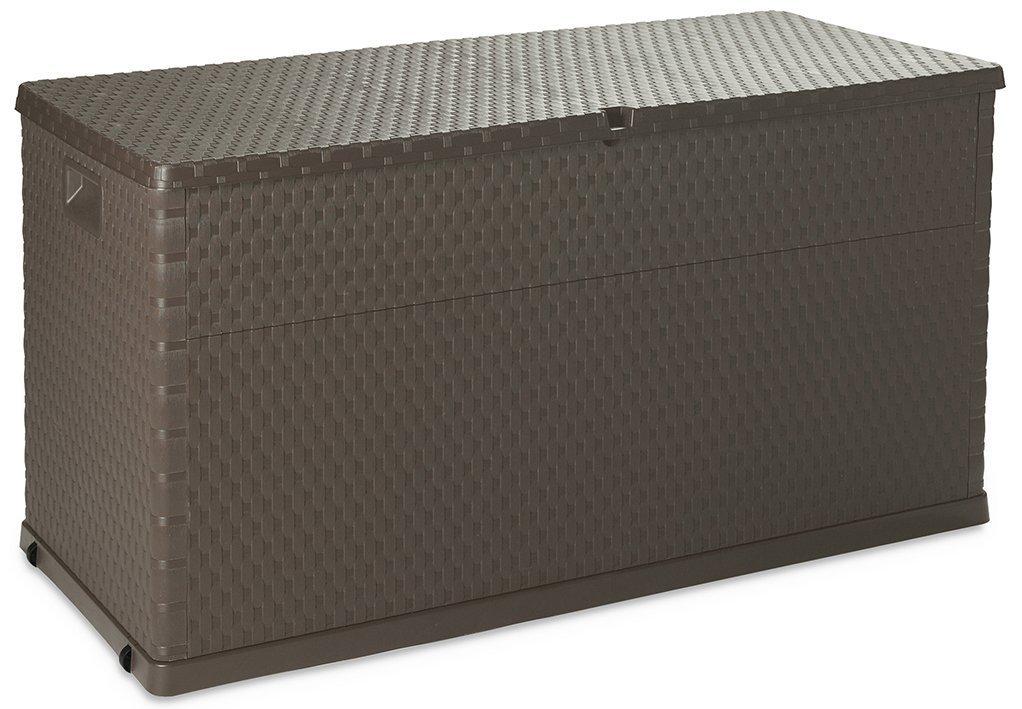 Couleur Marron 420 PEBSHOP Coffre Multifonctions en r/ésine Effet rotin L120/x P57/x H63/cm./ /Lt