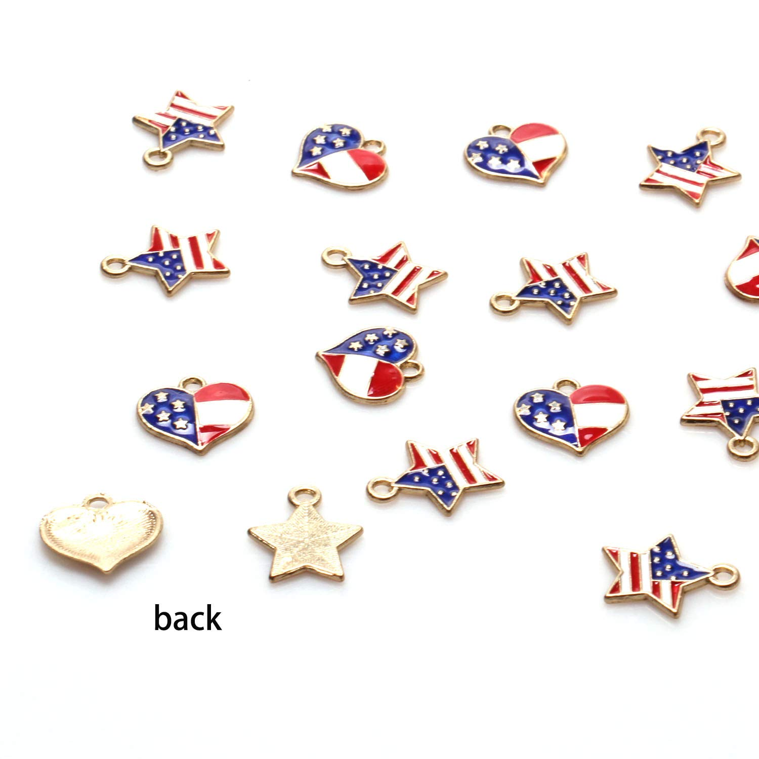 Style 1 and 2 Mayam 50 Pieces American Flag Charms Pendant Patriotic Enamel Charms for 4th Independence Day Ornament of July DIY Decoration Jewelry Making