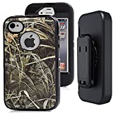iphone 4s Camo Case with Belt Clip,Auker Heavy Duty Defender Shockproof Natural Tree Camouflage Weather Resistant Anti-slip Tough Rugged TPU Rubber Case with Screen Protector for iphone 4/4s (G-Black)