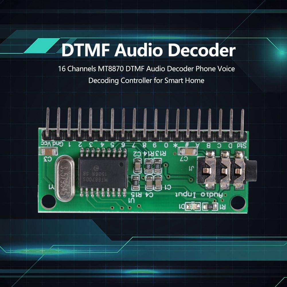 Decodificador de audio DTMF DC 4.5V-5.5V16 Canales MT8870 Decodificador de audio DTMF Decodificador de voz del tel/éfono para Smart Home