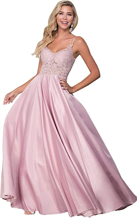 223573b139 Women s V Neck Beaded Crystal Lace Appliqued A Line Ball Gown Long Beaded  Crystal Open Back