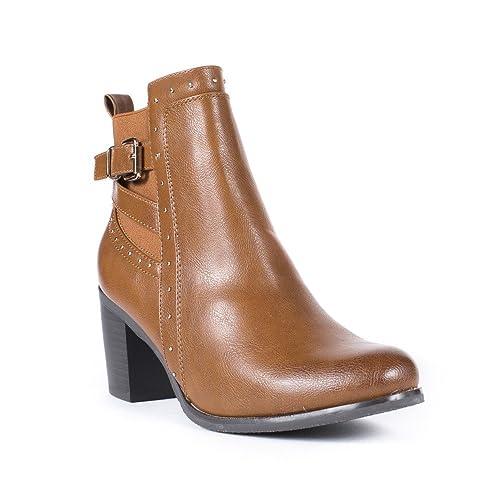 size 40 fd8dd 8cd67 Chaussures à talon carré à bout rond à fermeture éclair Ideal Shoes noires  femme KgFQYWsm