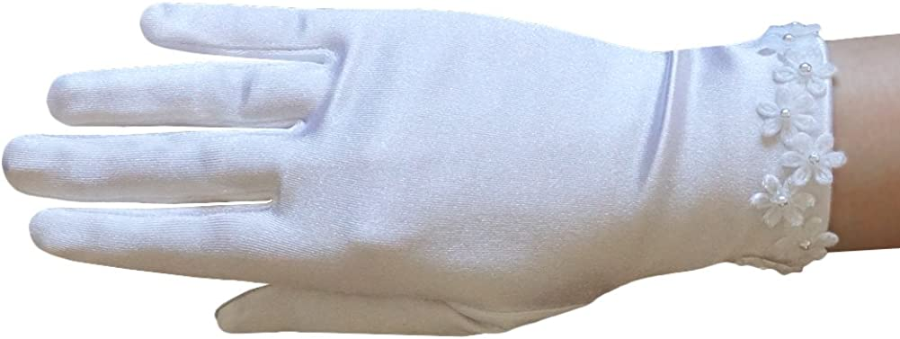 ZaZa Bridal Girls Satin Gloves with Ruched Part and Pearl Beading
