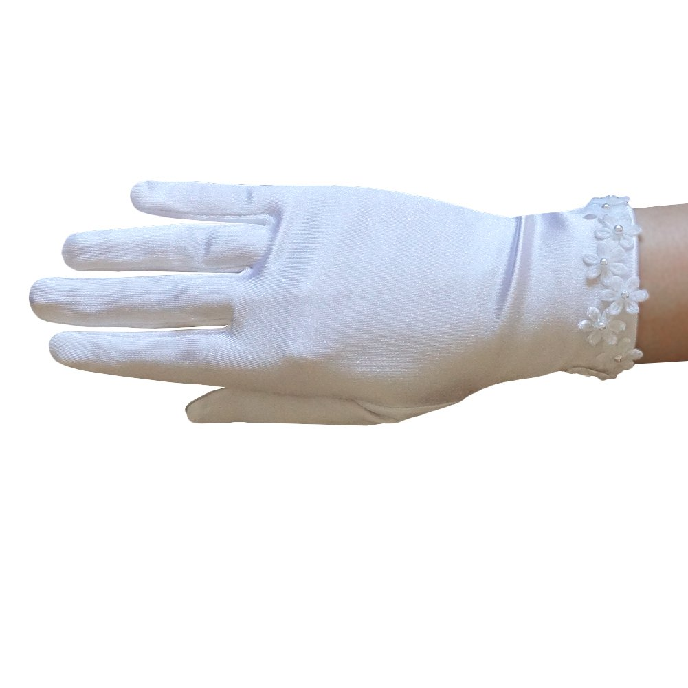 ZaZa Bridal Girl's Satin Gloves with flowers across the wrist with pearl centres - Girl's Size Medium (8-12yrs)/White