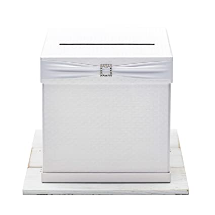 Hayley Cherie Gift Card Box With Rhinestone Slider 7 Ribbon Colors White Textured Finish Large Size 10 X 10 Perfect For Weddings Baby