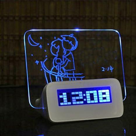 Reloj despertador LED con mensaje y 4 puertos USB