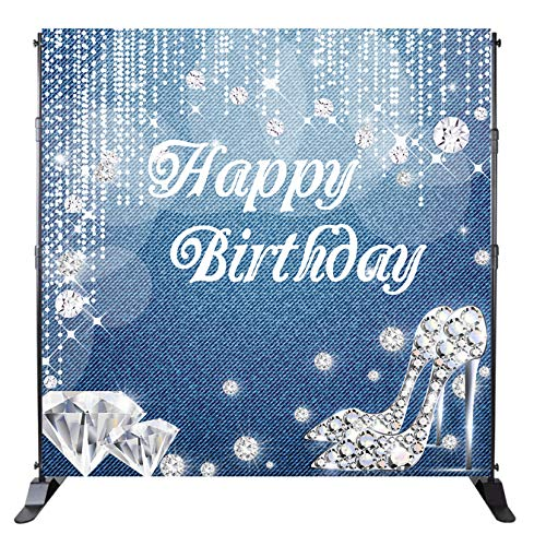 - Mehofoto Happy Birthday Backdrop Denim Diamonds Background Crystal Shoes Birthday Party Banner Decoration Woman Customized 8x8ft Vinyl Photo Studio Props
