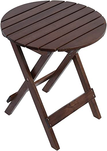 Adirondack Round Folding End Table Wood Side Table 17inch Portable Table Brown US Stock