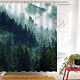 Roslynwood Nature Misty Fresh Green Forest Decor, Fog Forest Shower Curtains for Bathroom, Polyester Fabric Waterproof Bath Curtain, 69X70in,