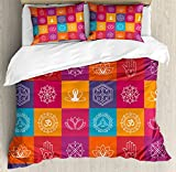 Yoga Duvet Cover Set by Ambesonne, Colorful Collection of Yoga Icons and Relaxation Symbols Wellness Harmony Health Zen, 3 Piece Bedding Set with Pillow Shams, Queen / Full, Multicolor